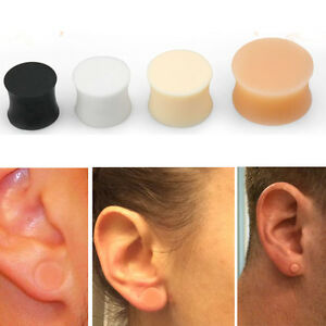 "Pair Soft Solid Silicone Skin Double Flared Plugs Earskin Retainer 8G-13/16"" Set"