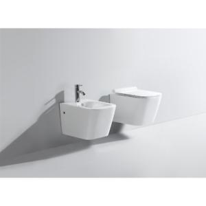 Sanitari sospesi forma squadrata in ceramica wc vaso rimless bidet  sedile