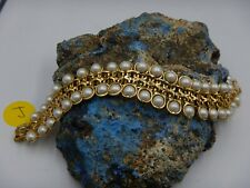 AVON Faux PEARL Gold Plate FILIGREE Cuff Bracelet Vintage Size 7 1/2''
