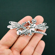 Fairy Dragonfly Connector Charm Antique Silver Tone 2 Sided - SC6163