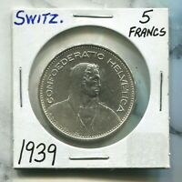 SWITZERLAND - BEAUTIFUL HISTORICAL SILVER 5 FRANCS, 1939 B, KM# 40