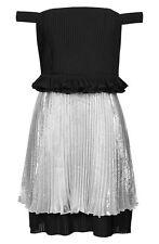 NWD TOPSHOP Unique Metallic Pleated Dress Silver/Black [SZ 2 US/ 6 UK] #M396