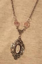 Lovely Silvertn Open Swirls Greek Goddess Pale Pink Rhinestones Pendant Necklace