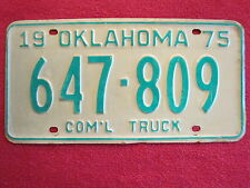 LICENSE PLATE Car Tag 1975 OKLAHOMA 647-809 COM'L TRUCK (Light weight) [Z220]