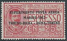 1917 REGNO POSTA AEREA ROMA TORINO MNH ** - E71