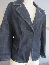 Talbots Denim Jean Jacket Coat Blazer Sz 12 Dark Work Church Warm Lined Fall