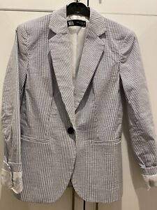 zara blazer xs Fully Lined Blue & White Stripe