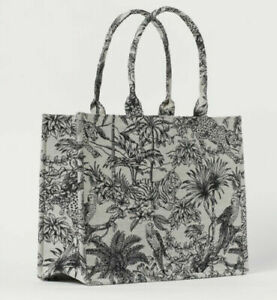 H&M Limited Edition Jacquard Patterned Cotton Large Fabric Book Tote Handbag Bag