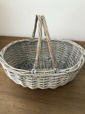 WICKER BASKET WITH CARRY HANDLE VINTAGE STYLE TRADITIONAL  - SHOPPING/PICNIC