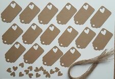 Gift tags with heart cut out made from Recycled Kraft card x 16 280gsm