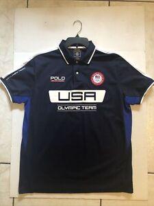 Polo Ralph Lauren XL Polo Shirt USA Olympic Team 2016 Navy Blue Logo Olympics