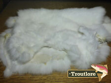 COMPLETE RABBIT HIDE DYED WHITE by HARELINE DUBBIN - NEW FLY TYING SKIN MATERIAL