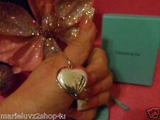 """Tiffany & Co. Silver Large Heart Locket Necklace Pendant On A 24"""" Tiffany Chain!"""