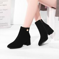 Details about  /Women/'s Outdoor Casual Block Heel Round Toe Back Zipper Ankle Boots 44//52 Warm D