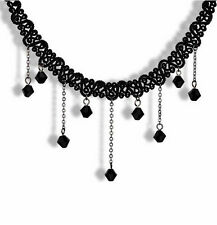 Vouge Gothic Black Lace Choker Victorian Collar Cube Beads Pendant Bib Necklace