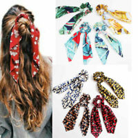 Women Ponytail Scarf Elastic Hair Rope Tie Scrunchies Ribbon Girl Bow Hair Bands