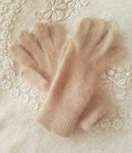 Brown ANGORA Ladies Winter Gloves One Size