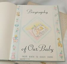 Vintage 1941 Boy's Baby Book Unused Blue Satin Our Baby's Record Birth to Seven