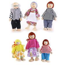 6 Personen Puppenfamilie Biegepuppen für Puppenhaus Holz Stoff Kinder Spielzeug