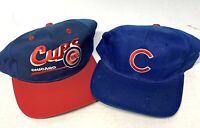 Lot of 2 Vintage MLB Chicago Cubs Snapback Hat Caps Blue Adjustable