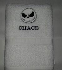 3 PC CUSTOM - JACK SKELLINGTON NIGHTMARE BEFORE CHRISTMAS EMBROIDERED BATH TOWEL