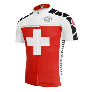 Switzerland Retro Cycling Jersey mens Cycling Short Sleeve Jersey