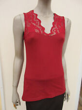 H&M - Womens Deep Red Sleeveless Lacy Trim Top - size M