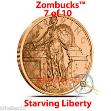 2 - 2019 COPPER ZOMBIE BULLION STARVING LIBERTY DOLLAR ZOMBUCKS ROUND 1 OZ