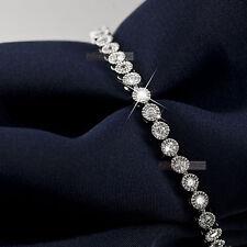 18k white gold gp sparkling simulated diamond slim bracelet 165mm