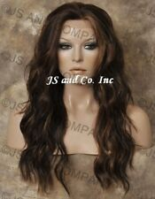 HEAT SAFE Full Lace Front WAVY LONG WIG Brown mix Futura WBYV 4-27-30