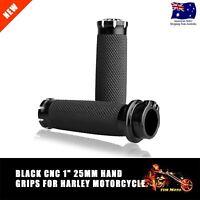 """Black CNC 1"""" Handlebar Hand Grips For Harley Touring Sportster Dyna Softail VRSC"""