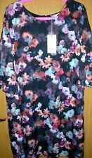 bnwt/new YUMI dark nouveau-floral frill trim tunic/shift shift dress size 22