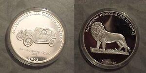 2002 Congo Large Silver Proof 10 Francs-Auto History-Audi 1912/Lion