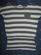 T-Shirt Fledermausshirt H&M Gr. 134 140 grau gestreift Tunika Shirt