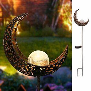 Garden Solar Lights Pathway Outdoor Moon Crackle Glass Globe Stake ,Waterproof