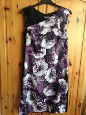 Woman's Mauve/white/ Black Floral Dress 12 Sequins On One Shoulder New
