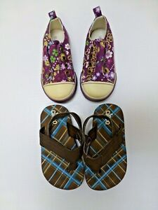 Girls Shoes Size 7 Teeny Circo Brown Foam Sandals & Old Navy Slip On Purple Used