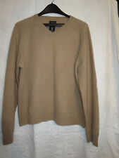 George L beige tan 100% cashmere Men's v-neck sweater classic