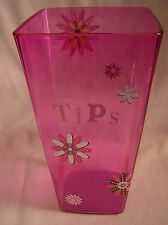 Tip Bucket Jar Vase Plastic Translucent Hot Pink Flowers Band Barista Cafe Rose