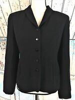 Talbots Blazer Women's Size 4 Black Jacket Long Sleeve Button Front Lined Career