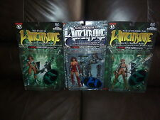 WITCHBLADE MAC ACTION FIGURE SET 1998 1999 7 FIGURES ON CARD SERIES ONE AND TWO