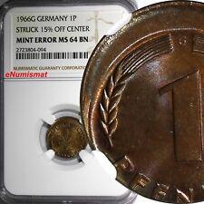 Germany - Federal Republic 1966-G 10 Pfennig MINT ERROR NGC MS64 BN KM# 105