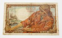 1944 France 20 Francs Note in Fine+ Condition Pick #100a