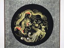 """Feng Shui Stickbild """"Drache und Phönix"""", chinesisches Bild, Stoffbild, Stickerei"""