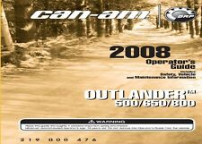 Can-Am Owners Manual 2008 OUTLANDER 500, OUTLANDER 650 & OUTLANDER 800