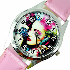 Madonna music star singer s en acier en cuir rose bande ronde couleur cd watch