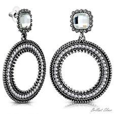 1 Paar Damen Vintage Ohrringe Ohrhänger Boho Ringe Silber Weisse Kristalle