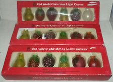 17 Old World Christmas Light Covers Old-Fashion Glass Fruit In Original Box
