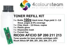 TONER REFILL w/CHIP FOR RICOH AFICIO SP200 SP 200 SP201 SP203 SP204 211 213 100g