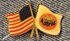 Houston Astros Lapel Pin~MLB~Astrodome Logo~American Flag~Baseball~CP&D 1991